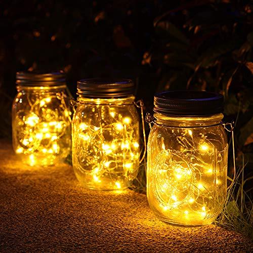 3 Stück Solarlampen fur Garten -30 LED Wetterfest Solar Einmachglas Aussen Lampions, Lichterkette im Glas,Gartendeko Solarleuchten für Weihnachten,Außen Laterne,Hochzeit, Party,Wand, Tisch, Baum.