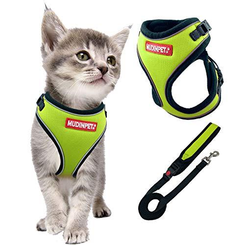 Chaleco de arnés para perro de MUDINPET con correa de 4 pies, pequeño y mediano y grande arnés de perro, entrenamiento para cachorros sin tirón, reflectante comodidad de seguridad para caminar 1,2 m