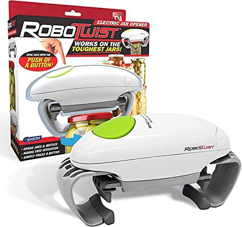 Robo Twist Elektrischer Dosenöffner - Der Original RoboTwist One Touch Elektrischer Handsfree Easy Jar Öffner, funktioniert für Gläser aller Größen - Bekannt aus dem TV