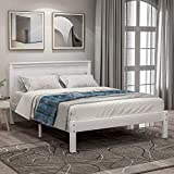 Twin Platform Bed, Hinpia Premium White Wood Bed Frame with Headboard and Strong Slat Support, Easy Assembly, No Box Spring Needed, Great for Boys, Girls, Kids, Teens and Adults