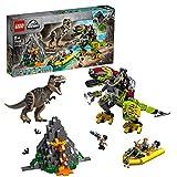 LEGO-Jurassic World La bataille du T. rex contre le Dino Mech Jouet pour Fille et Garçon à Partir de 7 Ans et Plus, 716 Pièces 75938