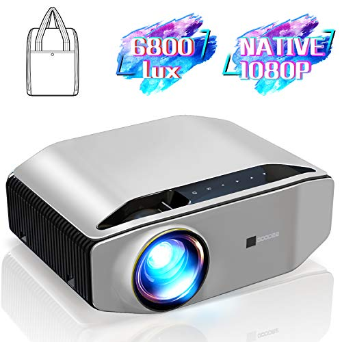 """GooDee YG620 Native 1080p Projector 6800 Lux 300"""" Full HD LCD Video Projector 1920x1080 Home & Business & Outdoor Projector, Compatible with iPhone, Android, PC, PS4, TV Stick, HDMI, VGA, USB, etc"""
