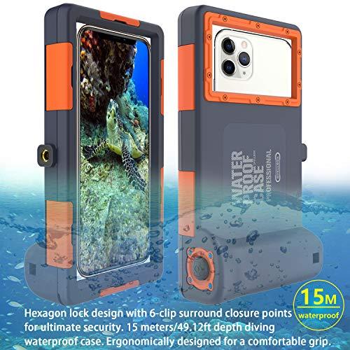 Custodia impermeabile per telefono 15M/50ft Subacqueo per iPhone 6/6 Plus/6s/6s Plus/7/7 Plus/8/8Plus/X/Xs Max/XR/11/11 Pro/11 Pro Max, Samsung Galaxy S6/S8/S8+/S9/S9+/S10/S10+/S10e,Nota 8/9/10/10+