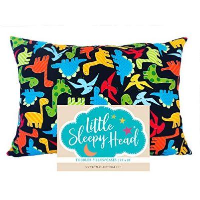 Little Sleepy Head Toddler Pillowcase 13 x 18 - 100% Cotton & Hypoallergenic ( Dinosaurs)