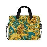 FELIZM - Funda para portátil con diseño de león de lujo, con correa para el hombro, para hombres, mujeres, niños y niñas, 15-16 pulgadas