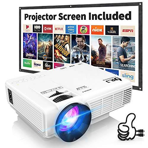 DR. J Professional HI-04 4500L Mini Projector Outdoor Movie Projector, 1080P Supported with 100Inch Projector Screen, Compatible with TV Stick, Video Games, HDMI,USB,TF,VGA,AUX,AV (Latest Upgrade)