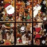 Tuopuda NoëL Autocollants Stickers Fenetre NoëL DIY Père Noël Bonhomme de Neige Renne Stickers Electrostatique Stickers Muraux Amovibles Autocollant Electrostatique Deco Noel 21 * 29.5cm 6 Feuilles