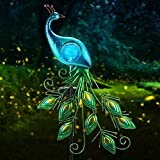 CHINLY Garden Solar Lights Stake, Metal Peacock Decor Solar Garden Lights Solar Peacock Stake for Outdoor Patio Yard Decorations (Blue Lampshade)