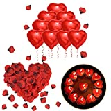 ASANMU Romantique Décorations Set, 50 Bougies en Forme de Coeur/1000 Pétales de Rose Rouges en Soie/10 Amour Coeur Feuille de Ballons Bougies pour la...