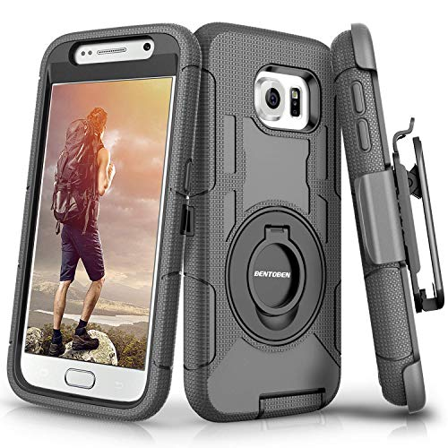 BENTOBEN Compatible with Samsung Galaxy S6 Case, Case for Samsung S6, Heavy Duty Kickstand Swivel Belt Clip Hybrid Shockproof Holster Protective Case for Galaxy S6,Black