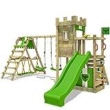 FATMOOSE Parco giochi in legno BoldBaron Boost XXL Giochi da giardino con altalena SurfSwing e scivolo, Torre di arrampicata da esterno con sabbiera per bambini