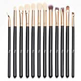 Qivange 12pcs Kit de brosse à yeux Kit de pinceau de maquillage(Rose Gold)