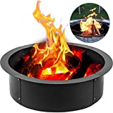 VBENLEM Fire Pit Ring 45 Inch Outsidex 39 Inch Inside 3.0mm Thick Solid Steel Fire Pit Liner DIY Campfire Ring Above or In-Ground for Outdoor