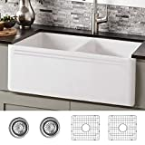 33 inch Fireclay Farmhouse Sink, Double Bowl Apron Front Farmhouse Kitchen Sink, Revesible White Farmhouse Sink With 2 Stainless Steel Grids and 2 Drains