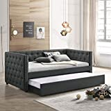 Daybed with A Trundle, HABITRIO Solid Wood Structure Gray Fabric Upholstered Full Size Day Bed Frame w/Twin Size Roll-Out Trundle, No Box Spring Needed, Furniture for Bedroom, Living Room, Guest Room