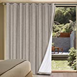 Primitive Linen Look 100% Blackout Patio Door Linen Curtains for Sliding Door Extra Long with Thermal Insulated Liner Room Darkening Curtains for Glass Door with Grommet (Taupe, 100' x 84')