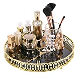 """Zosenley Makeup Organizer Tray, Decorative Glass Vanity Tray, Round Cosmetic Storage for Jewelry, Makeup, Perfume, Decor and More, Size 11.4"""", Black Marbling"""