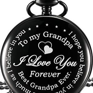 Hicarer Pocket Watch Gift for Grandpa – Best Grandpa Ever, I Love You Forever – from Granddaughter Grandson to Grandpa Pocket Watch with Chain (Grandpa Gifts, Black Roman Dial)