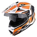 1Storm Dual Sport Motorcycle Motocross Off Road Full Face Helmet Dual Visor Storm Force Orange, Size Medium