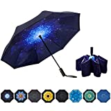 NOORNY Inverted Umbrella Double Layer Automatic Folding Reserve Umbrella Windproof UV Protection for...