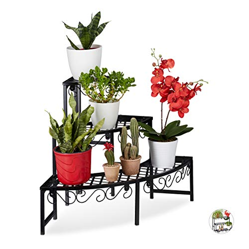 Relaxdays Blumentreppe aus Metall, Eck Blumenregal mit 3 Ebenen, halbrund, für den Garten, Balkon oder Terrasse, schwarz