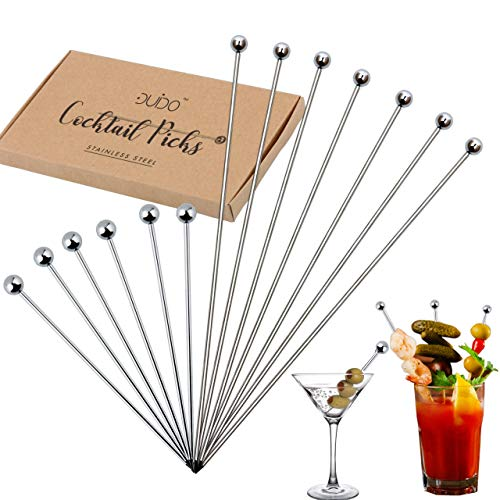 Cocktail Picks Martini Stirrers Toothpicks – (24 Pack / 4 & 8 Inch) Reusable Cocktail Picks - Stainless Steel Drink Skewers