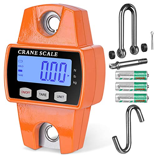 RoMech 660lb Digital Hanging Scale with Cast Aluminum Case, Handheld 300Kg Mini Crane Scale with Hooks for Farm Hunting Fishing Outdoor (Orange)