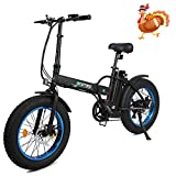 20' 500W 36V 12Ah Fat Tire Folding Electric Bike Removable Lithium Battery Beach Snow Bicycle Moped...