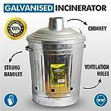 Grand format 90L Incinérateur de jardin en métal galvanisé pour déchets...