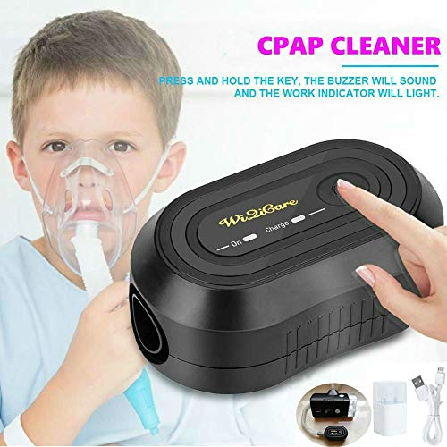 CPAP Cleaner & Sanitizer, Vktech Portable Mini CPAP Cleaner Disinfector, CPAP Mask Cleaner Suit for CPAP Machine Air Tubes Heated Hose Pipe Tube Accessories, Black