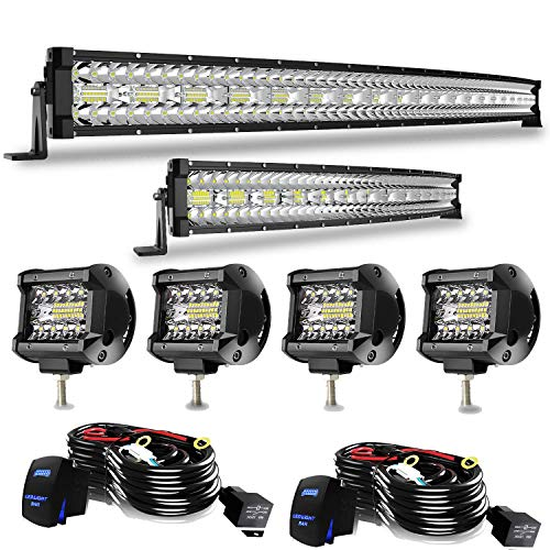 T-Former Led Light Bar 50 Inch 936W+ 22 Inch 390W Curved Triple Row Combo Light Bars Kit + 4Pcs 4 Inch Offroad Driving Fog Lights W/Rocker Switch Wiring Harness Kit for Jeep Tucks Polaris Boats