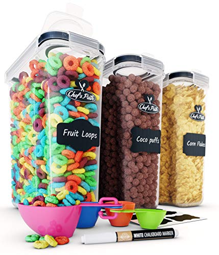Cereal Container Storage Set - Airtight Food Storage Containers, 8 Labels, Spoon Set & Pen, Great for Flour - BPA-Free Dispenser Keepers (135.2oz) - Chefs Path (3)