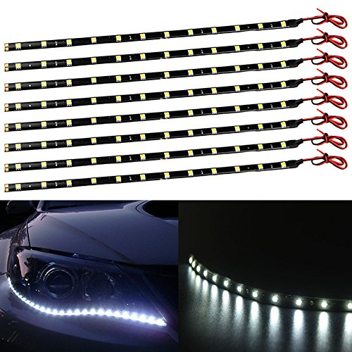 TABEN - Striscia di luci LED 12V per auto e moto, 30cm, impermeabile, flessibile, bianco 5050-12SMD (confezione da 4)