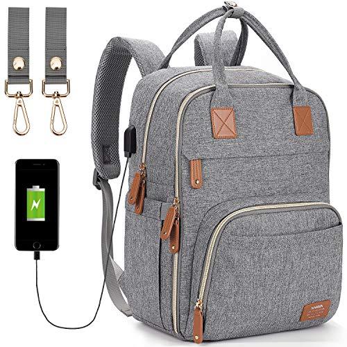 Diaper Bag Backpack,Maternity Nappy Bag with USB Charging Port Stroller Straps