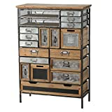 WHW Whole House Worlds Industrial Chic Multi Drawer Chest, 17 Drawers and 2 Utility Bins, Reclaimed Vintage Style, Iron, Screening, Galvanized Metal, Wood, 43 3/4 Inches Tall