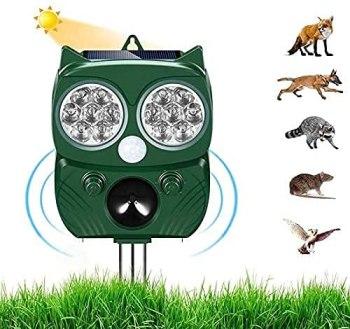 Répulsif Chat, Répulsif Animaux Haute Puissance et Ultrason Sonore avec LED Lampe, Répulsif Étanche Charge de Solaire ou de Piles, Meuilleur Compagnon pour Jardin