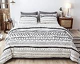Janzaa Queen Comforter Sets Boho Comforter,3 PCS Aztec Comforter Set Geometry Printing on Bohemian Comforter Set with 2 Pillow Cases for All Seasons Duvet Insert