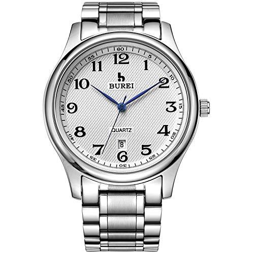 BUREI Herren Uhren Einfach Weiß Quarz Armbanduhr Datumsanzeige Silber mit Edelstahlband Watch for Men