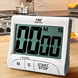 HOME MOST 3' Large Display Kitchen Timer - Digital Timer Magnetic Back Loud Alarm On A Rope- White Cooking Timers For Kitchen Teachers Students Games Kids Meetings - Sports Timer For Workouts Exercise