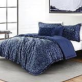 Anne Klein Heatherton Paisley Comforter Set with Decorative Pillows, King, Navy