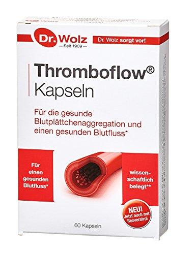 Thromboflow von Dr. Wolz, für einen gesunden Blutfluss, Blutfluss-Kapseln mit Traubenkern-Extrakt, ideal bei Flugreisen, 60 Kapseln
