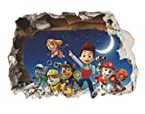 Paw Patrol Sticker Mural 3D Chambre Garçon Fille Paw Patrouille 3D Autocollants Muraux Brisés Stickers Muraux Pat Patrouille Autocollants Muraux Pat Patrouille Chambre Enfant