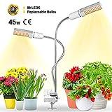 Bozily Lmpara de Plantas, Lmpara de Cultivo LED de 45W para Plantas de Interior, Cabezal Dual de Espectro Completo, 88 LEDs, Auto On/Off, para Siembra en Crecimiento, Germinacin y Floracin