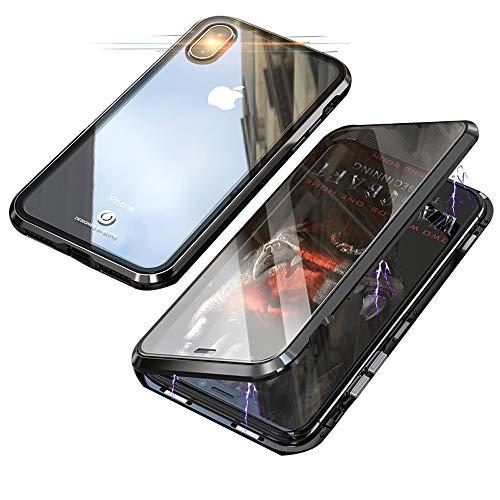 Jonwelsy Cover per iPhone XR, 360 Gradi Anteriore e Posteriore Vetro Temperato Trasparente Custodia, Tecnologia di Adsorbimento Magnetico Bumper Metallo per iPhone XR (6,1 Pollice) (Nero)