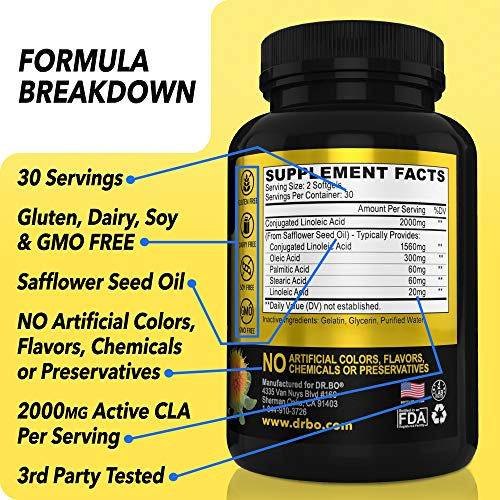 CLA Safflower Oil Supplement for Men & Women - 100% Pure Safflower Oil for Weight Loss, Lean Muscle & Workout - 2000mg Non Stimulant Diet Pills - Conjugated Linoleic Acid Supplements - 60 Softgels 2 - My Weight Loss Today
