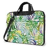 XCNGG Bolsa de Ordenador con Hojas de Palmera Tropical, maletín de Ordenador portátil Duradero, Bandolera para Ordenador portátil de 15,6 Pulgadas