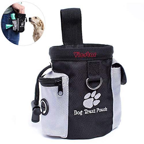 Vicstar Futterbeutel für Hunde - Leckerlitasche Snack Bag mit Clip & Lasche - Futtertasche für Hundetraining und Ausbildung - Wasserfest und Abwaschbar - 12.5x8x12.5 cm