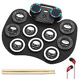 Electronic Drum Set, ALPOWL Practice Drum Pad Roll Up Potable Drum Kit with earphone, portable drum Built-in Stereo Speaker Multicolor LED Digital Display for Kids, Adult, Beginners (Black)