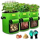 Torba do sadzenia ziemniaków LESDOI, torba do sadzenia ziemniaków o pojemności 7 galonów, worek do sadzenia ziemniaków, worek do sadzenia ziemniaków Torba do sadzenia ziemniaków, kwiatów, roślin, warzyw (zielony)