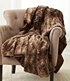 Pinzon Faux Fur Throw Blanket 63' x 87', Alpine Brown